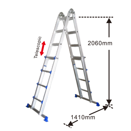 TELESCOPIC ALUMINIUM LADDER 4X4