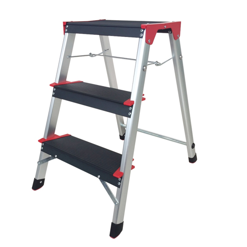 ALUMINIUM LADDER WITH WIDER STEPS SINGLE SIDED 3 STEPS